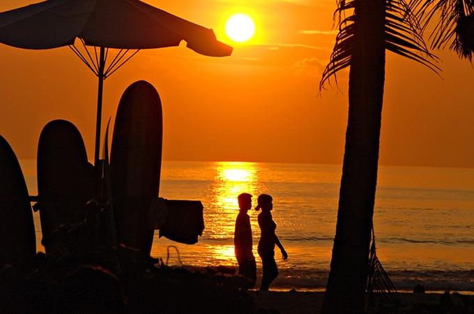 A stunning sunset at Kuta Beach