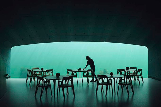 Submerged five metres below the icy waters at Lindesnes, Under is Europe's first underwater restaurant. Photo: Ivar Kvaal