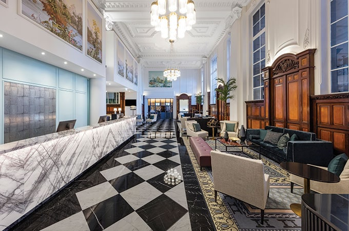 The lobby celebrates the luxe beauty of a bygone era