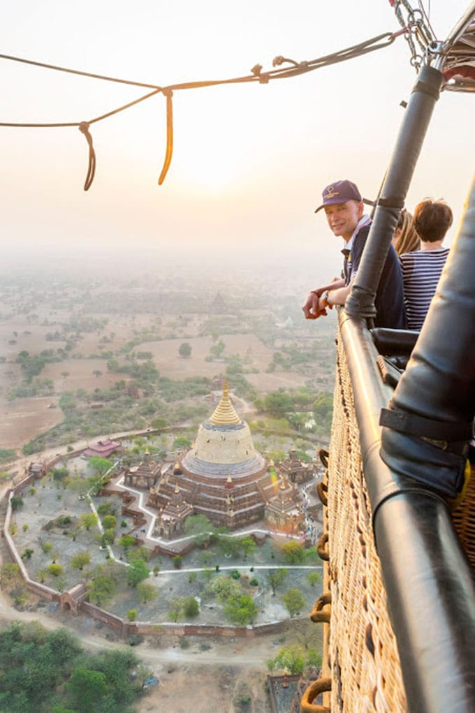 Bertrand Piccard enjoys the view over Bagan during a stop in his 2015 round-the-world voyage the first ever in a solar-powere