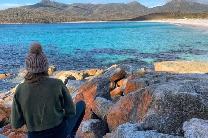 A top spot for morning tea — and another awesome vista on the new Freycinet Walking Tour