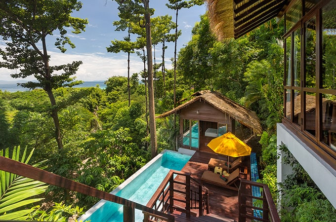 Cocoon yourselves in a Pool Villa Suite, offering 180-degree rainforest views