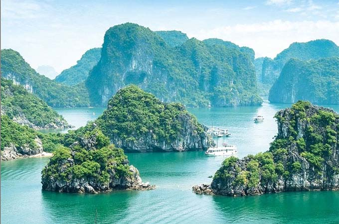 The jade waters of Halong Bay are a highlight of Vietnam
