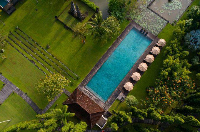 Cool off in serene surrounds, immersed in the cultural heart of Bali