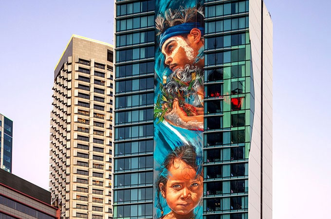 The tallest mural in the Southern Hemisphere creates instant impact at The Adnate, in Perth's chic King St precinct