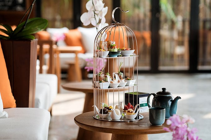 Cheers! Enjoy three tiers of festive treats with classic tea sandwiches, a glass of Moet Chandon Champagne and a signature spice-blend tea