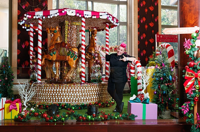 Already renowned for her creative high teas and dessert degustations, Anna Polyviou has raised the bar with her Gingerbread Carousel