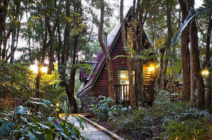 Tucked away in the rainforest, the ultra-private cedar chalets each have their own personality
