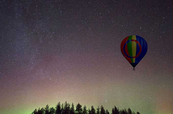 Add to wish list, stat: ballooning through Arctic skies in search of the Aurora. Photo: Lapland Ballooning