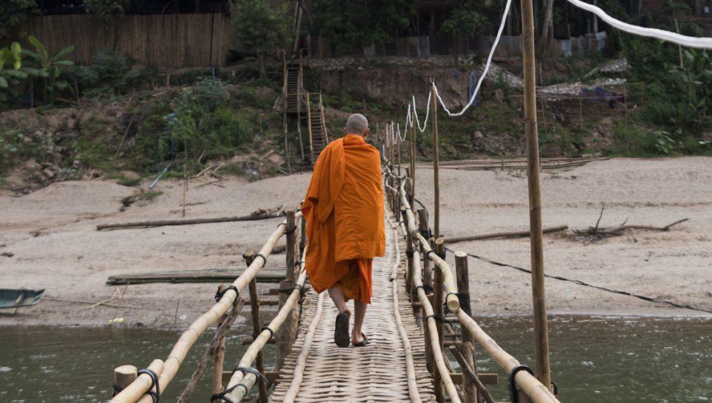 Nam Khan bamboo bridge is rebuilt each year after heavy rainfall in Luang Prabang