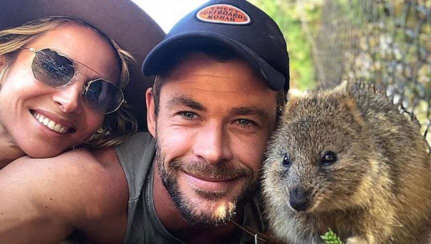 Chris Hemsworth, Elsa Pataky and one of Rottnest Island's cutest in their famous #quokkaselfie. Photo: @chrishemsworth